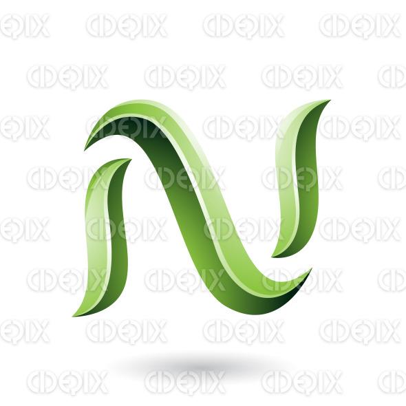 Green Glossy Snake Shaped Letter N Vector Illustration stock illustration