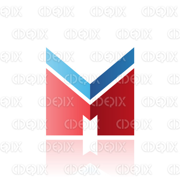 Blue and Red Letter M with a Thick Stripe and Reflection Vector Illustration stock illustration