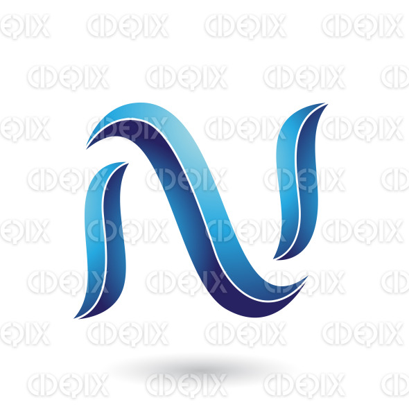 Blue Striped Snake Shaped Letter N Vector Illustration stock illustration