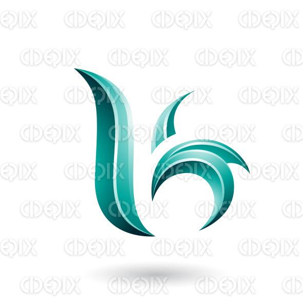 Persian Green Glossy Leaf Shaped Letter B or K Vector Illustration stock illustration