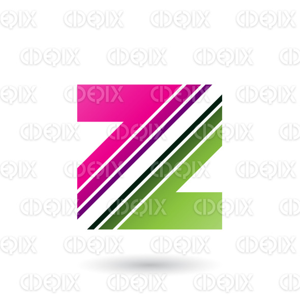 Magenta and Green Letter Z with Diagonal Stripes Vector Illustration stock illustration