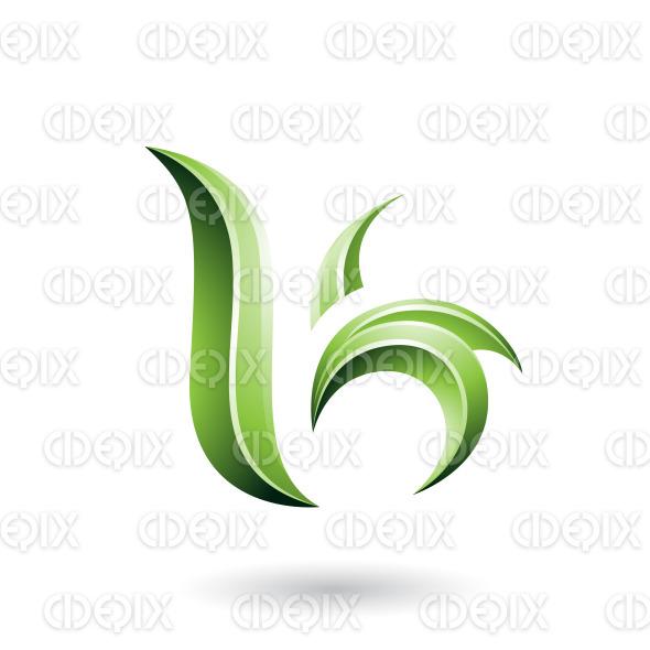 Green Glossy Leaf Shaped Letter B or K Vector Illustration stock illustration