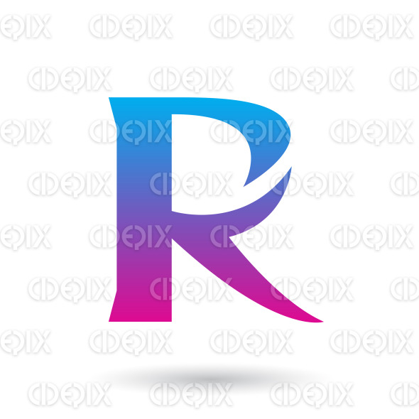 Blue and Magenta Gradient R with a Spiky Tail Vector Illustration stock illustration