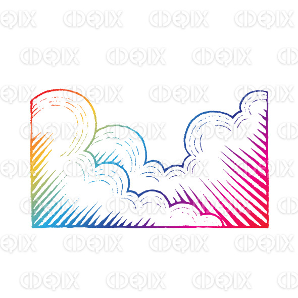 Rainbow Colored Vectorized Ink Sketch of Clouds Illustration stock illustration