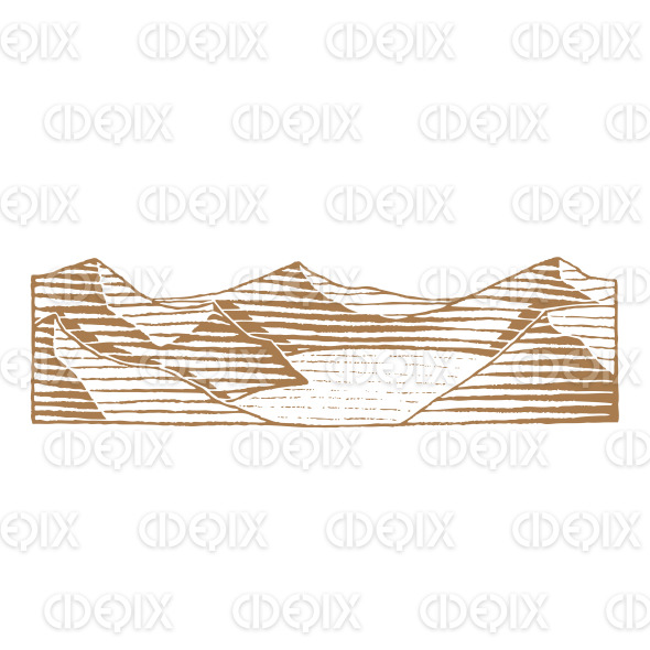Brown Vectorized Ink Sketch of Mountain Lake Illustration stock illustration
