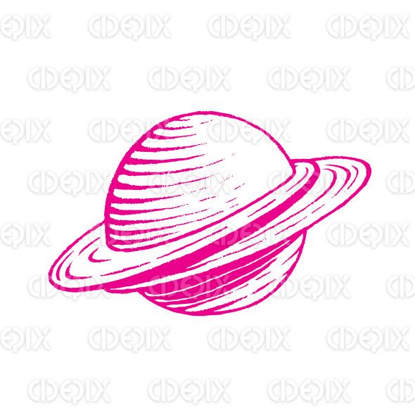 Magenta Vectorized Ink Sketch of Planet Illustration stock illustration