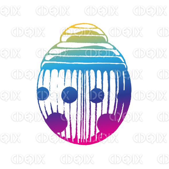Rainbow Colored Vectorized Ink Sketch of Simple Ladybug Illustration stock illustration