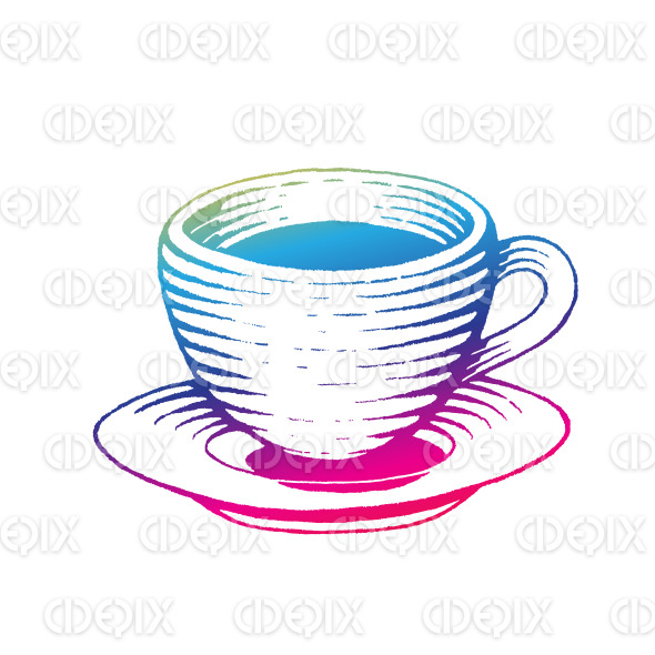 Rainbow Colored Vectorized Ink Sketch of Coffee Cup Illustration stock illustration