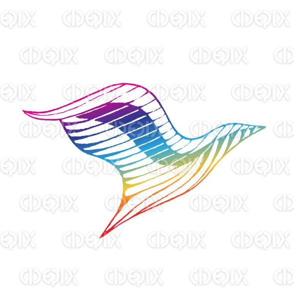 Rainbow Colored Vectorized Ink Sketch of Eagle Illustration stock illustration