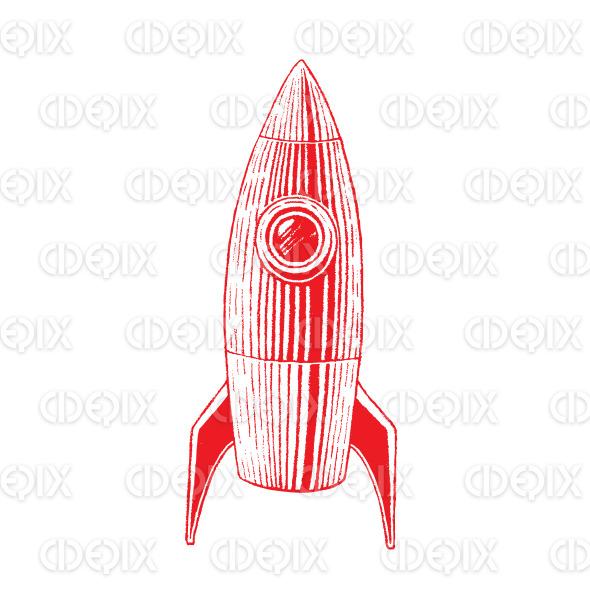 Red Vectorized Ink Sketch of Rocket Illustration stock illustration
