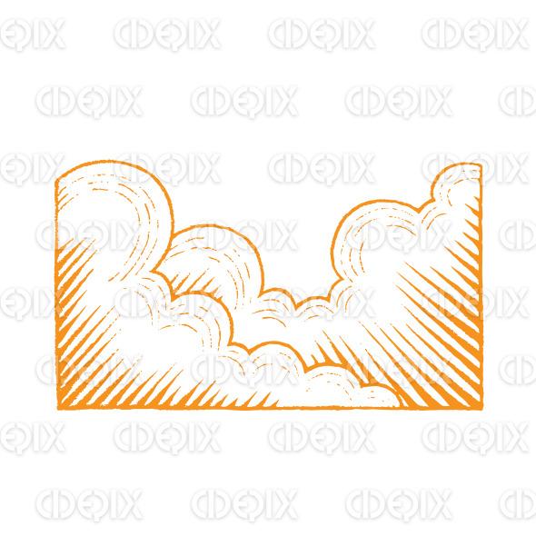Orange Vectorized Ink Sketch of Clouds Illustration stock illustration