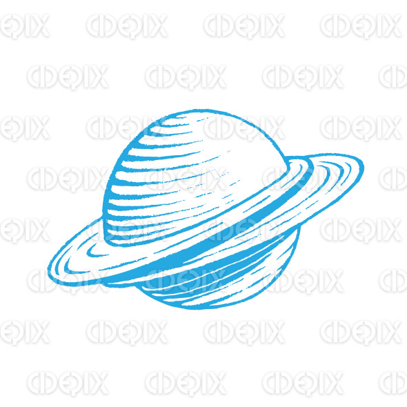 Blue Vectorized Ink Sketch of Planet Illustration stock illustration