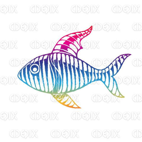 Rainbow Colored Vectorized Ink Sketch of Fish Illustration stock illustration