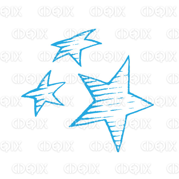 Blue Vectorized Ink Sketch of Stars Illustration stock illustration