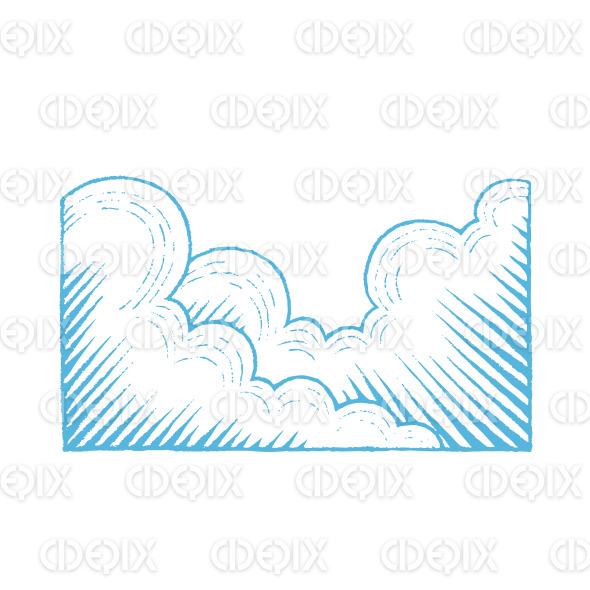 Blue Vectorized Ink Sketch of Clouds Illustration stock illustration