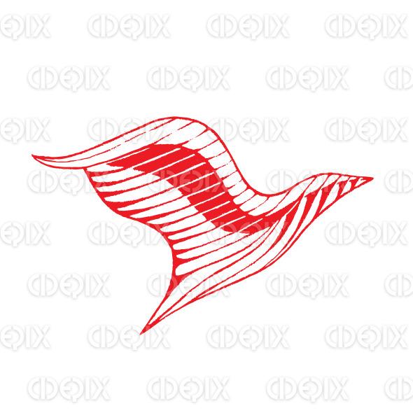 Red Vectorized Ink Sketch of Eagle Illustration stock illustration