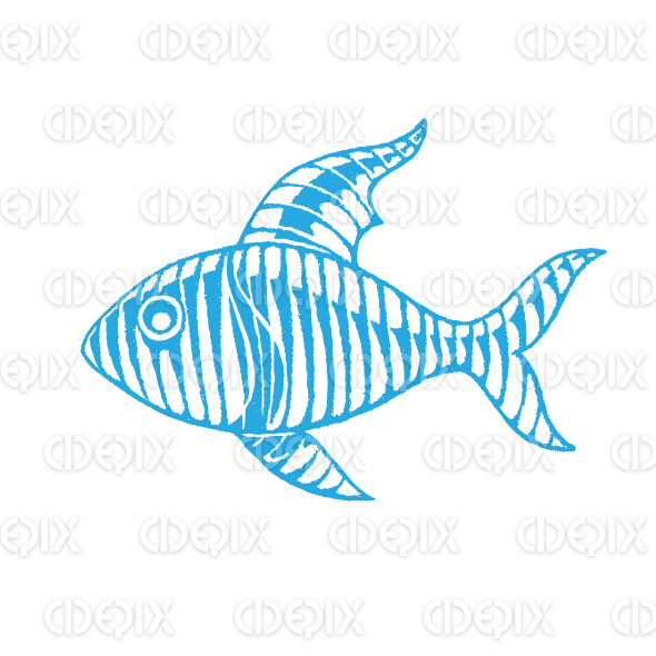 Blue Vectorized Ink Sketch of Fish Illustration stock illustration