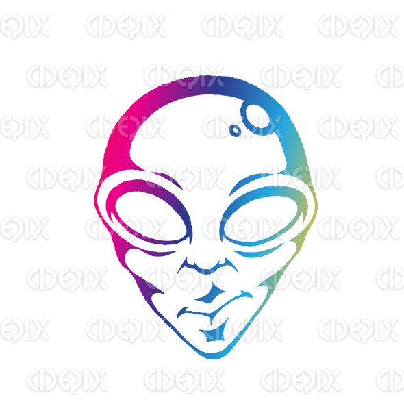 Rainbow Colored Vectorized Ink Sketch of Alien Face Illustration stock illustration