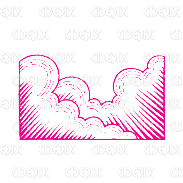 Magenta Colored Vectorized Ink Sketch of Clouds Illustration stock illustration