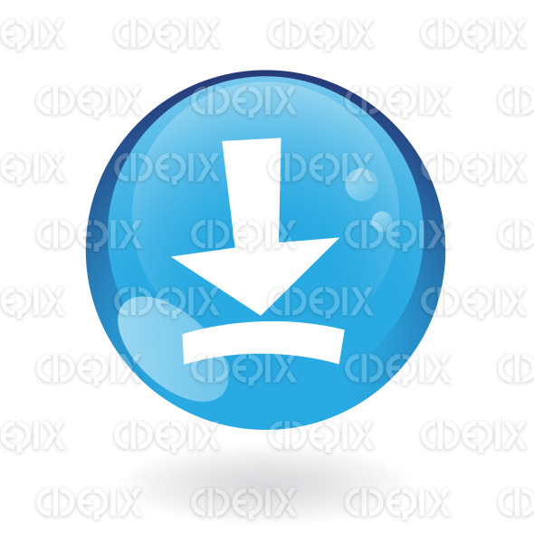 download icon on blue round glossy button stock illustration