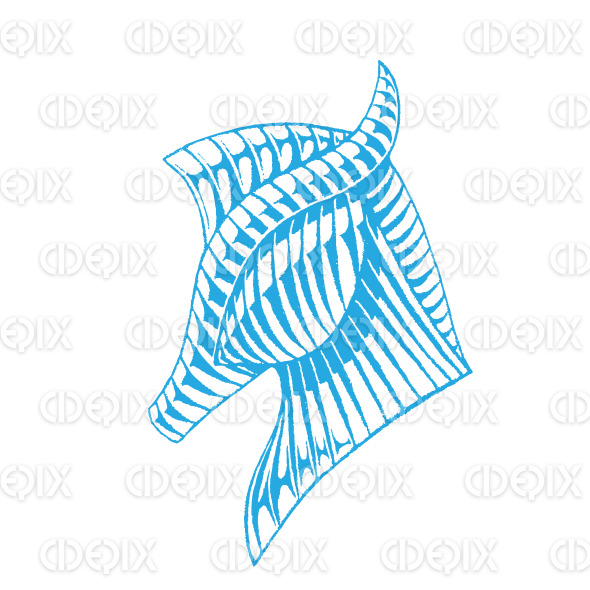 Blue Vectorized Ink Sketch of a Horse stock illustration