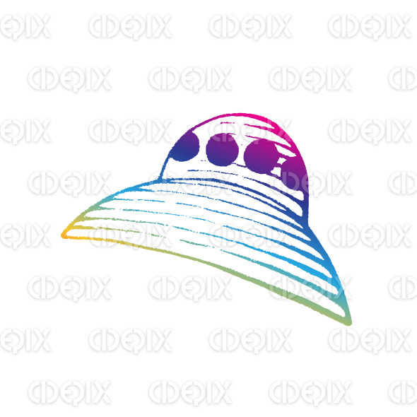 Rainbow Colored Vectorized Ink Sketch of Alien Ship Illustration stock illustration