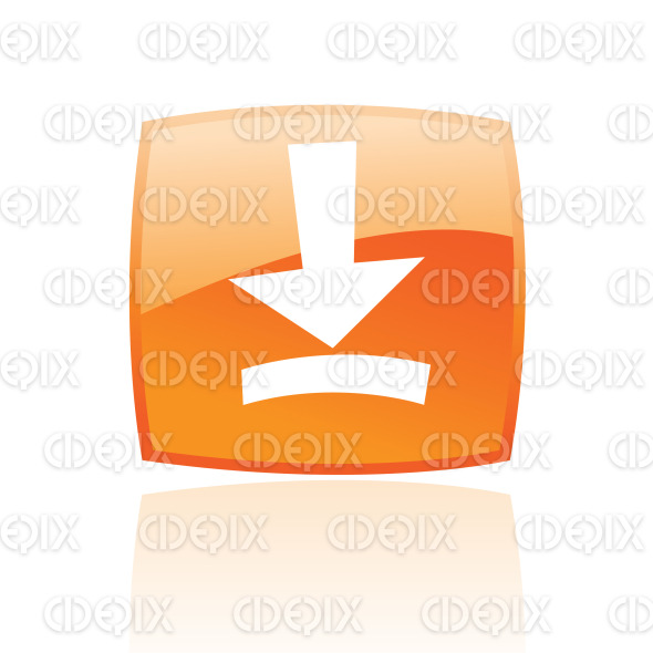 download icon on orange glossy button stock illustration