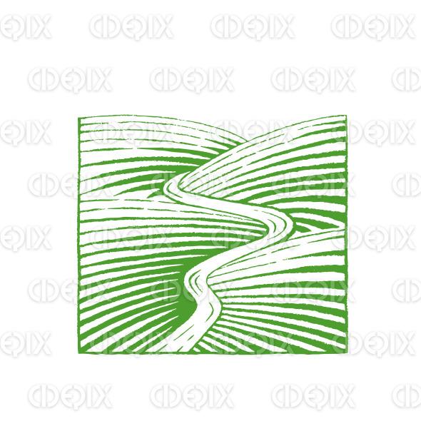 Green Vectorized Ink Sketch of Hills and River Illustration stock illustration