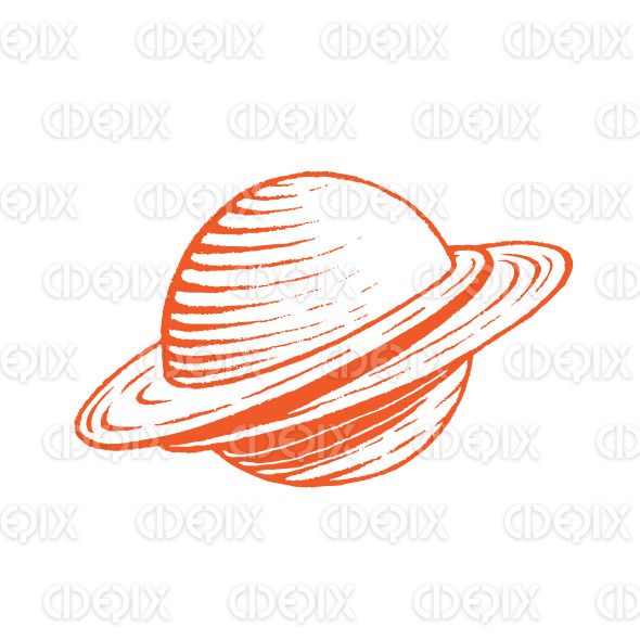 Orange Vectorized Ink Sketch of Planet Illustration stock illustration