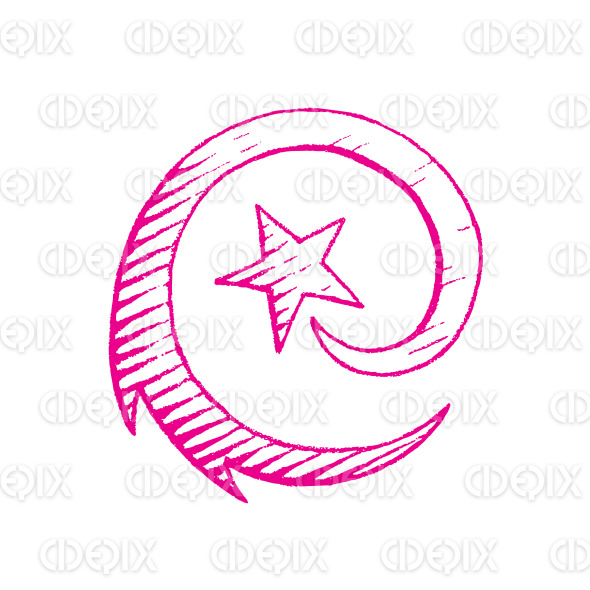 Magenta Vectorized Ink Sketch of Shooting Star Illustration stock illustration