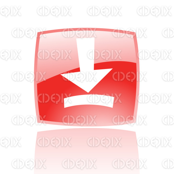 download icon on red glossy button stock illustration