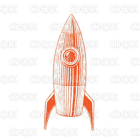 Orange Vectorized Ink Sketch of Rocket Illustration stock illustration