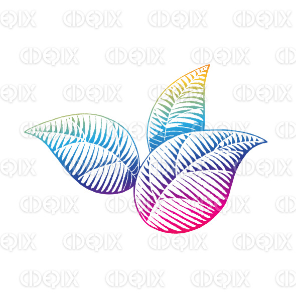 Rainbow Colored Vectorized Ink Sketch of Leaves Illustration stock illustration