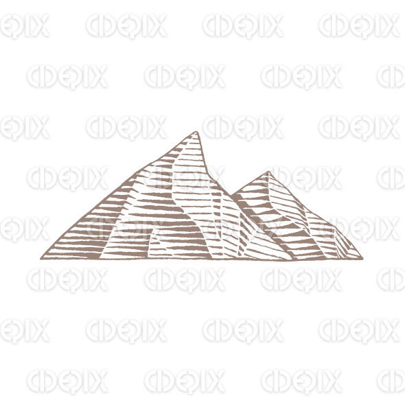 Brown Vectorized Ink Sketch of Mountains Illustration stock illustration