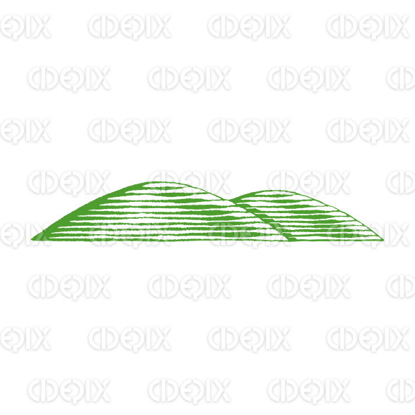 Green Vectorized Ink Sketch of Hills Illustration stock illustration