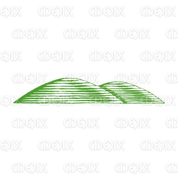 Green Vectorized Ink Sketch of Hills Illustration stock illustration