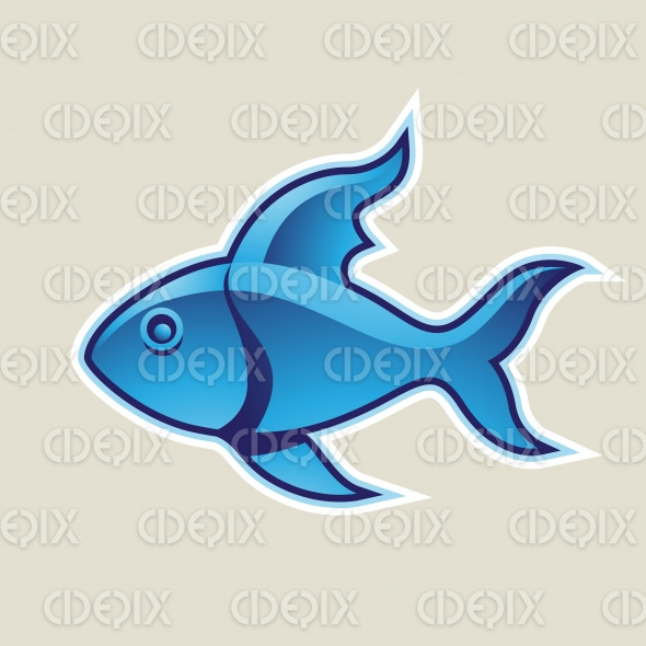 Blue Fish or Pisces Icon Vector Illustration stock illustration