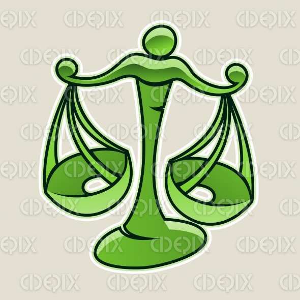 Green Scales and Libra Icon Vector Illustration stock illustration