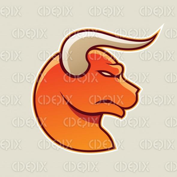 Orange Cartoon Bull Icon Vector Illustration stock illustration
