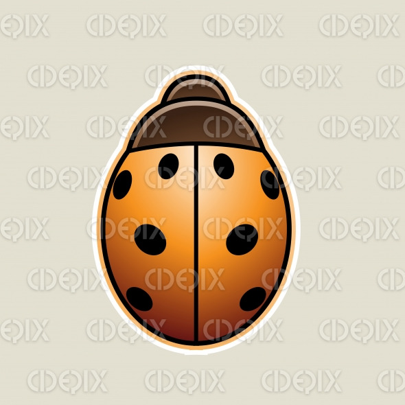 Orange Asian Ladybug Cartoon Icon Vector Illustration stock illustration