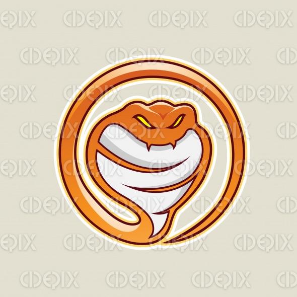 Orange Cobra Snake Cartoon Icon Vector Illustration stock illustration