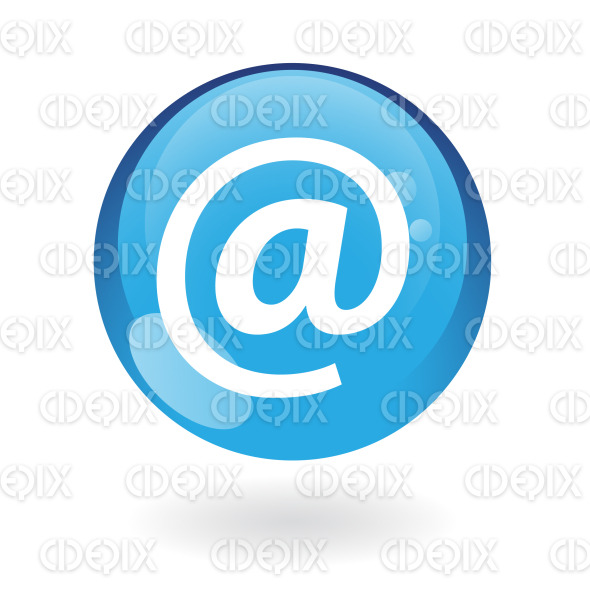 email icon on blue round glossy button stock illustration