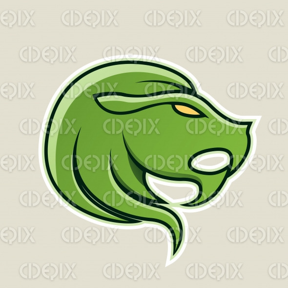 Green Lion or Leo Icon Vector Illustration stock illustration