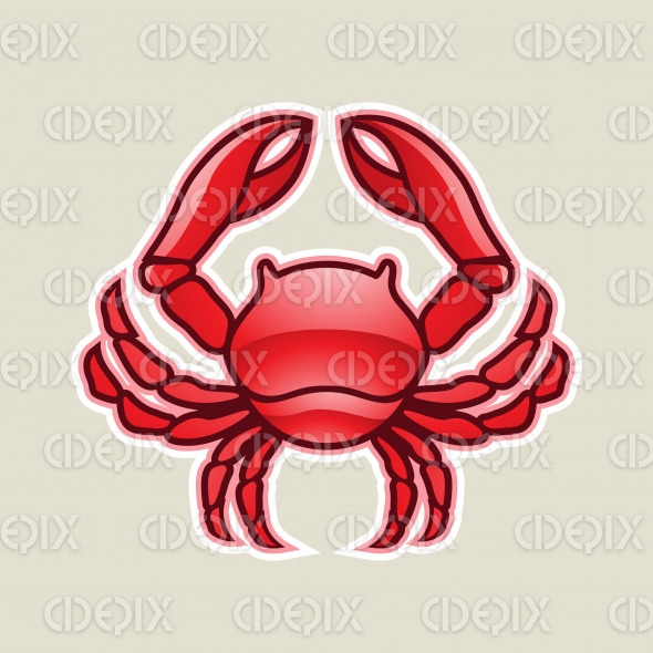 Red Glossy Crab or Cancer Icon Vector Illustration stock illustration