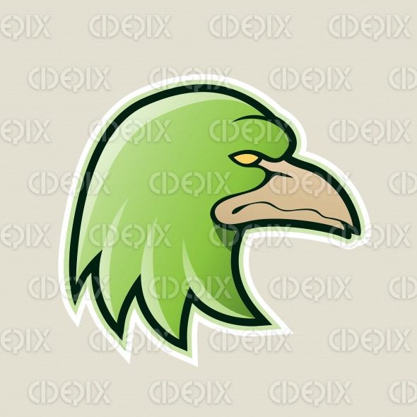Green Eagle Head Cartoon Icon Vector Illustration stock illustration