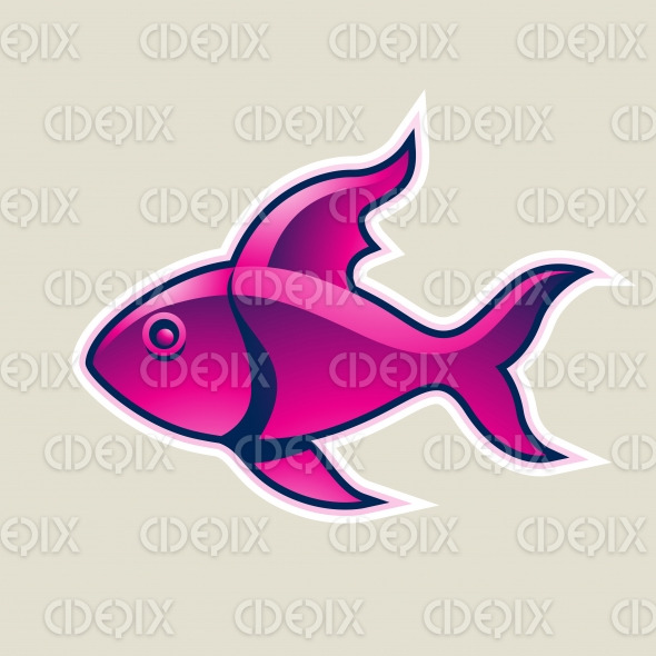 Magenta Fish or Pisces Icon Vector Illustration stock illustration