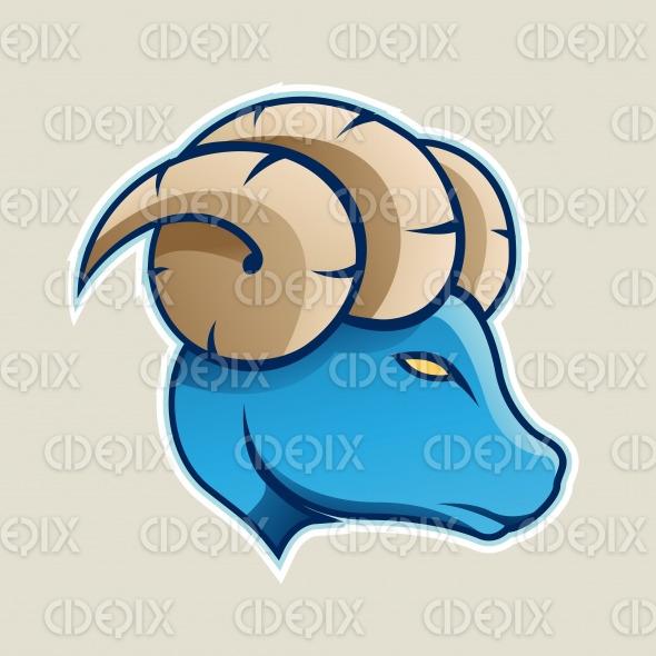 Blue Aries or Ram Cartoon Icon Vector Illustration stock illustration