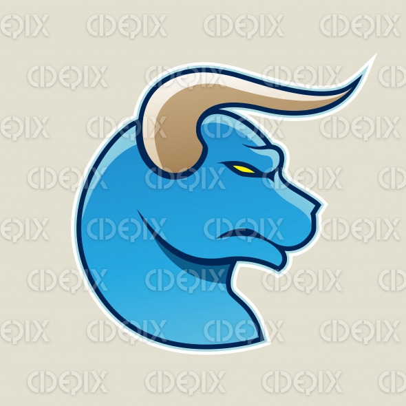 Blue Cartoon Bull Icon Vector Illustration stock illustration