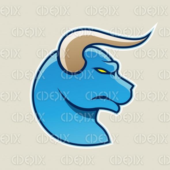 Blue Cartoon Bull Icon Vector Illustration stock illustration