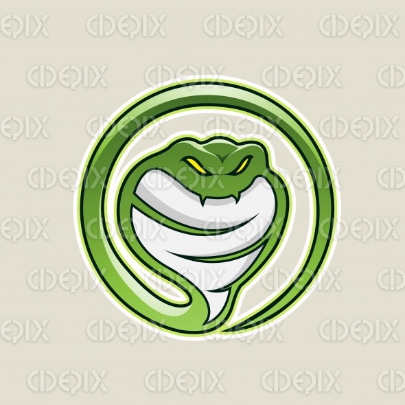 Green Cobra Snake Cartoon Icon Vector Illustration stock illustration
